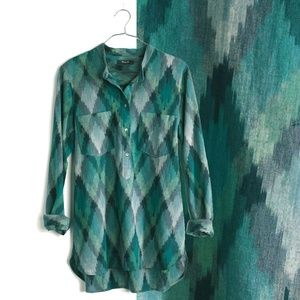 Madewell Wellspring Ikat Popover Tunic Green A8418